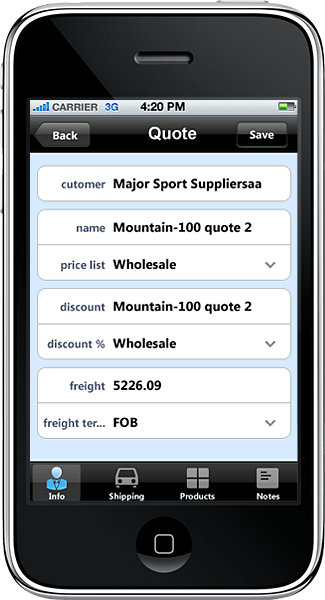iPhone Application: This iPhone application was developed in Resco MobileApp Studio using Resco MobileTouch controls and MonoDroid from Novell.