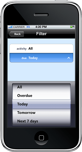 Date Control: A demonstration of a Date control used in an iPhone app developed in Resco MobileApp Studio.