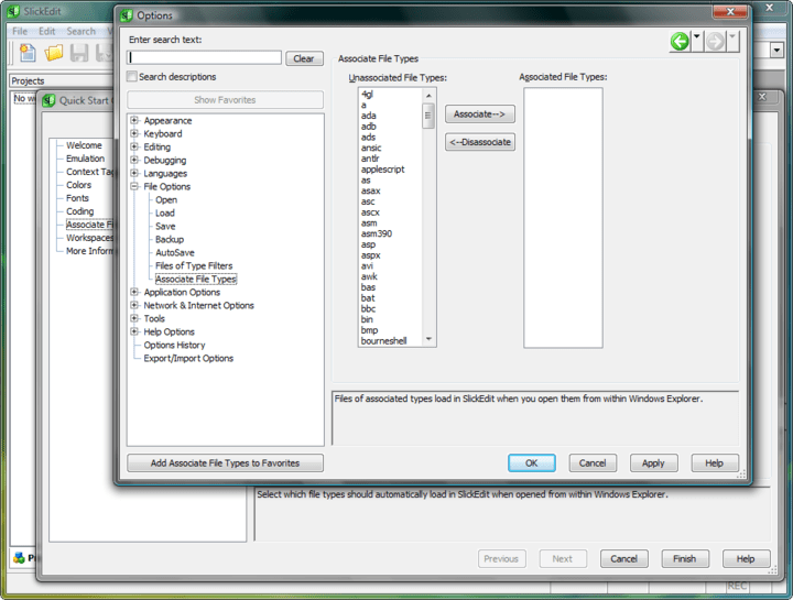 Associate File Types: This screen lets you select the file types that will be automatically opened in SlickEdit.
