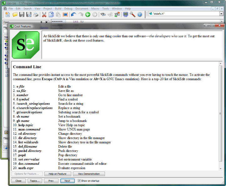 Screenshot of SlickEdit for Windows and Mac OS X