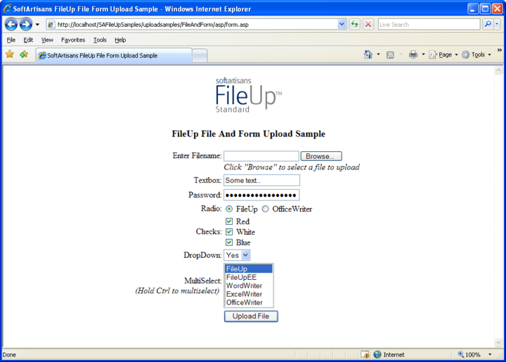Processing File And Form Elements: FileUp can handle standard text-based HTML form elements along with file elements.