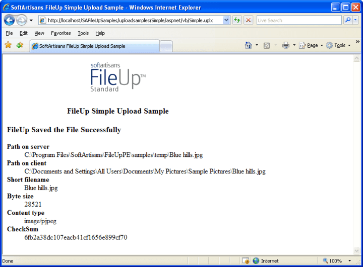 SoftArtisans FileUp Professional: FileUp processes uploads sent from a client over HTTP to a server running Microsoft Internet Information Server (IIS). Uploads are typically submitted from a web page or from a client-side ActiveX control such as SoftArtisans XFile. Uploaded files can be saved on the web server or to another machine on the same local network as the web server.