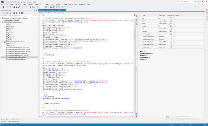 Generate SQL scripts: Persistence producers generate SQL scripts so you can easily work with them. Producers automatically add them to target Visual Studio projects and can also deploy them automatically on configured server.