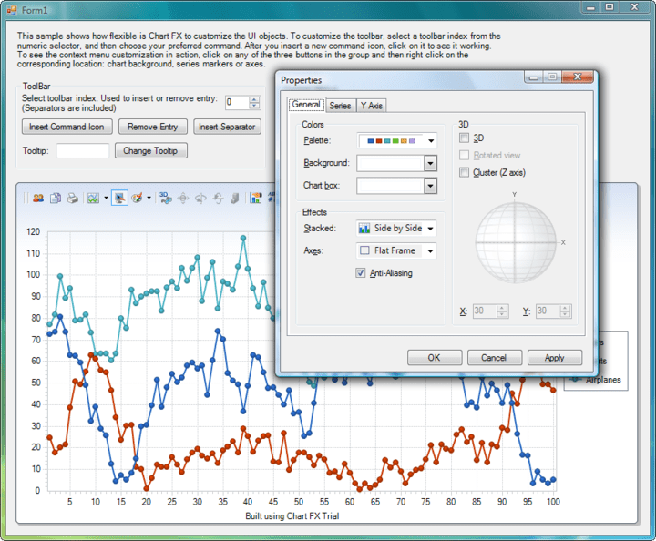 End User Experience : The Chart FX UI including the Toolbar, Context Sensitive Menus and Dialogs provides an easy way for the End User to change visual attributes of any chart element. Advanced features like the ability to change the rotation angle and perspective of a 3D Chart or change axis settings are also included.