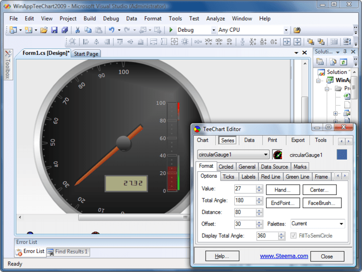 Gauges: TeeChart for .NET includes several Gauges series types: Circular Gauge, Linear Gauges, Numeric Gauge, etc..