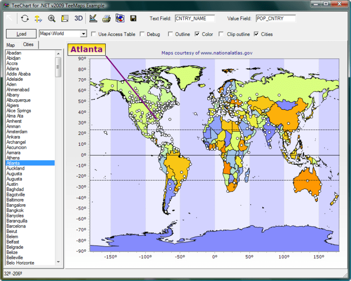GIS Mapping: TeeChart includes Mapping with support for open standard map formats