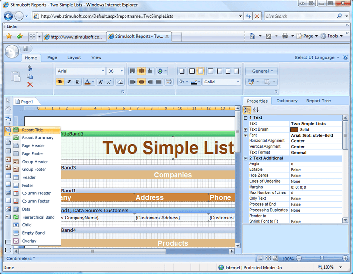 Toolbox: Stimulsoft Reports Designer.Web comes with an extensive toolbox to help you easily design reports.