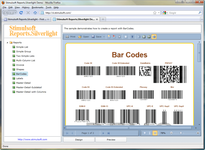 Barcodes: Use Stimulsoft Reports.Silverlight to add barcodes to your reports.