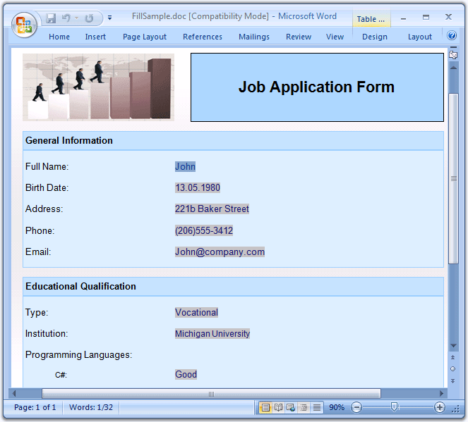 Create User Interactive Forms: Use Essential DocIO to Create documents with Form Fields dynamically, as well as perform form filling on such existing documents.