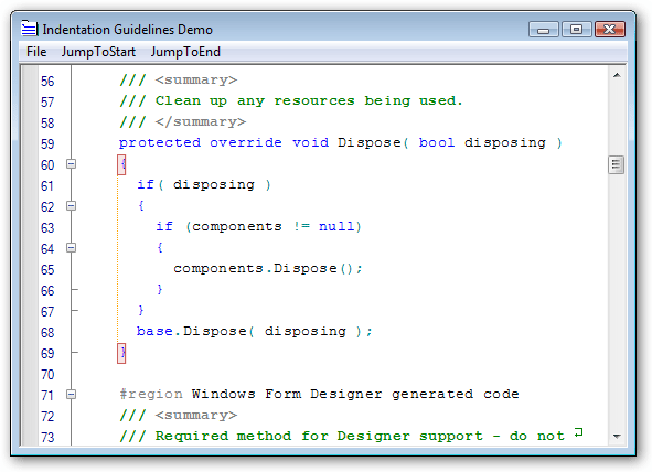 Brackets and Indentation: Extend Visual Studio like editing functionality to your applications.