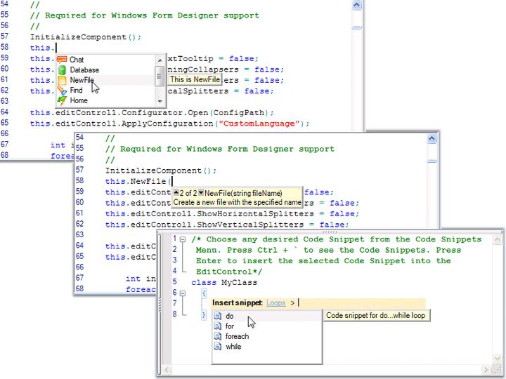 Intellisense: Implement Visual Studio like intellisense in your code-editing applications.