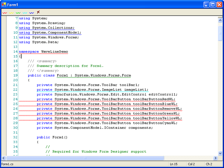 Wave Lines: Essential Edit has built in support for drawing wave lines under individual lines or a selection range, similar to those in the VS.Net IDE.