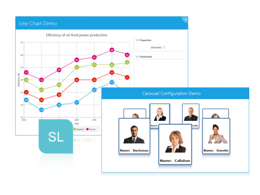 Silverlight: Use Silverlight components to add charting, carousel functionality, and more to your apps
