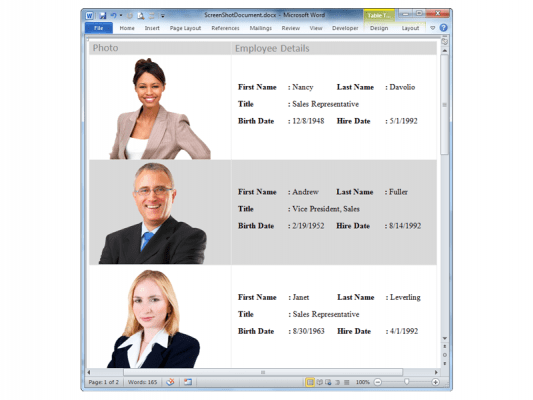 Word Reports