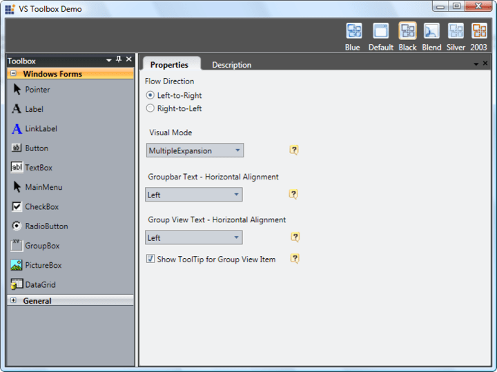 Navigation: This Visual Studio style toolbox UI is created using the group bar and Docking Manager controls.