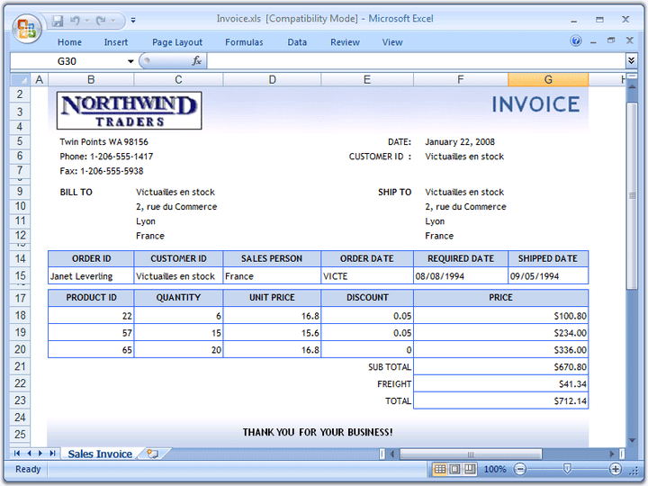 Invoices: Dynamically create richly formatted invoice documents with Excel formulas.