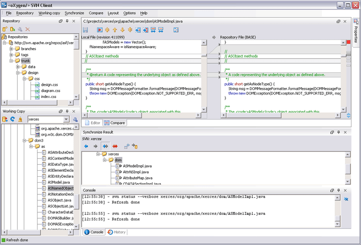 SVN Client: The oXygen SVN Client is composed of several views allowing you to browse the Subversion repositories and your local working copies, compare and merge modifications, check the revision history. All the views are dockable. This means you can move them to create the optimal layout for your use case.
