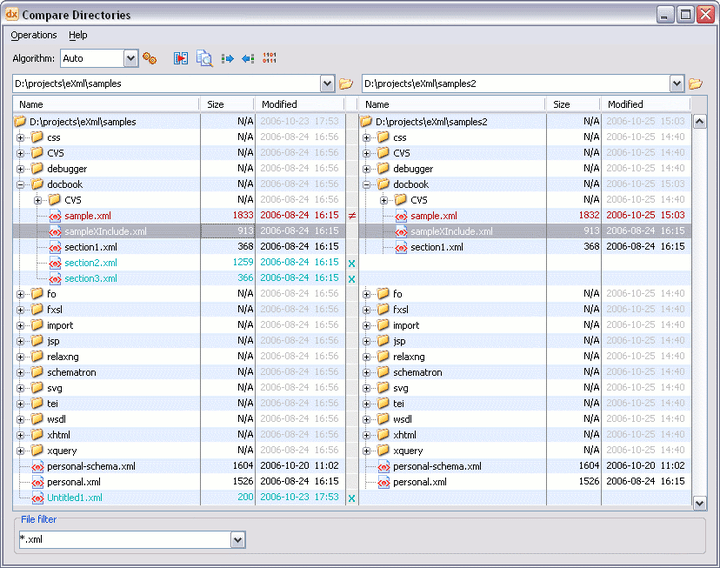 XML Diff and Merge Tool: A complete diff and merge solution is available in XML Editor. It offers both directory and file comparison, six different diff algorithms and multiple levels of comparison.