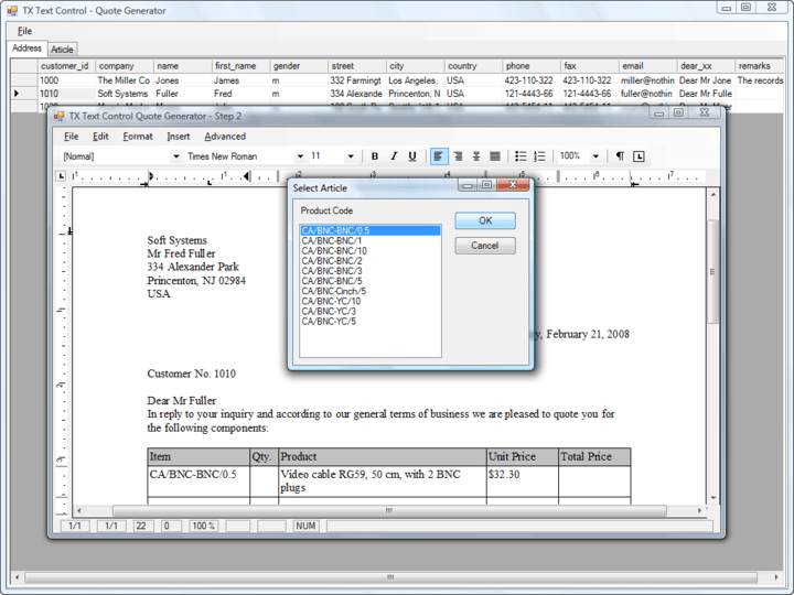 Loading from and saving to databases: Using a fully abstracted database layer, TX Text Control ActiveX can load and save plain text and formatted blocks of text from and to all databases.