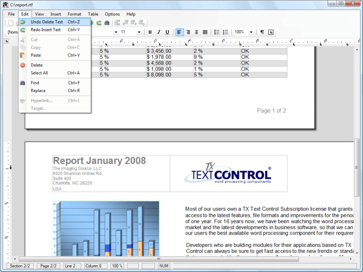 Multi-Level Undo / Redo: Multi-level undo / redo is one of the most basic features of a fully-fledged word processing application. TX Text Control ActiveX records every step taken when an end-user edits a word processing document.