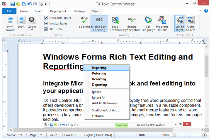 Stylesheet Formatting: TX Text Control supports both paragraph and character based styles, as well as multiple style inheritance. The stylesheets are compatible with MS Word, and can be used with RTF and DOC files.