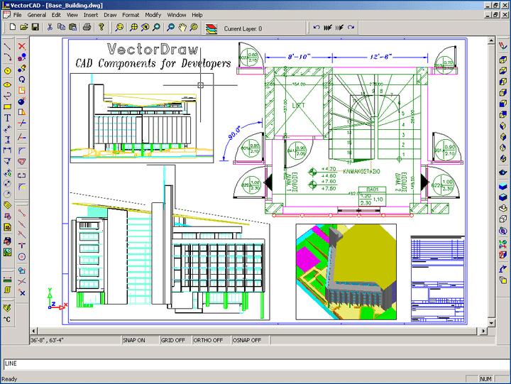 Building Design: Use VectorDraw for complex 3D design. VectorDraw Professional is a component for vector graphics. Aiming at enhancing developers' creativity over the graphics environment who desire full programming control. It is also designed for users with a minimum experience in the graphics background. It gives you the ability to customize all messages and dialogs (local language) and provides over 700 methods, properties and events. VectorDraw Professional is the