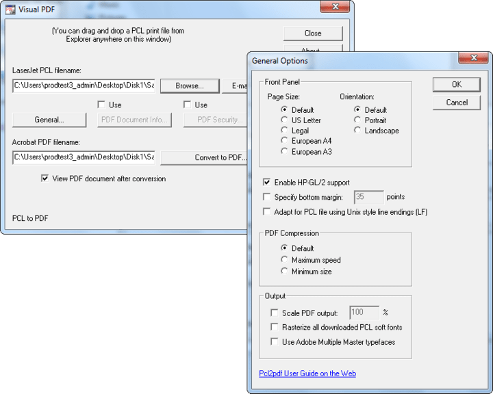 Custom page sizes: For print files that do not use any PCL page size commands Pcl2pdf can generate custom PDF page sizes using paper size values defined by the -CPW:# and -CPH:# switches. This new functionality is enabled by the -CUSTOM switch.