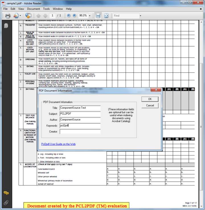 Fully text searchable documents: You can use Adobe Acrobat from Windows, Mac and Unix to view your print files, print to local printers (including non-PCL) and search for text. Pcl2pdf produces PDF documents that are fully text searchable word for word. Adobe® Acrobat® uses PostScript and TrueType fonts for display giving superb font rendering quality.