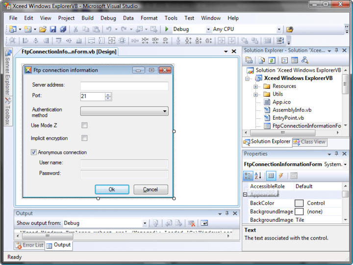 File Transfer: Xceed Data Manipulation Suite also includes Xceed FTP for .NET, to easily add FTP file transfer, Zip, Tar, and GZip capabilities to your .NET and ASP.NET applications through a straightforward and intuitive object model.