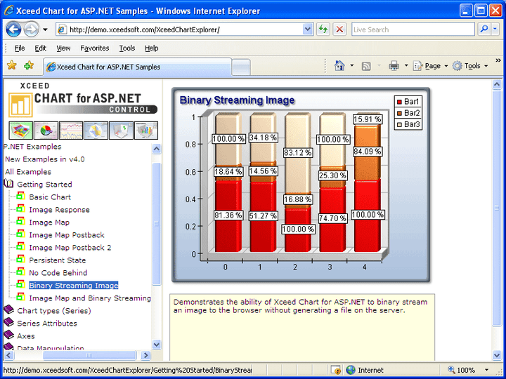 High-quality, fast ASP.NET 2D/3D chart control: Also included is the Xceed Chart for ASP.NET. Xceed Chart for ASP.NET supports 14 major 2D/3D chart types, flexible axes, scaling, legends, drill-down, built-in toolbar and data grid, 30+ formulas, multi-chart display, and more.